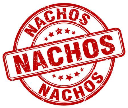 nachos: nachos red grunge round vintage rubber stamp Illustration
