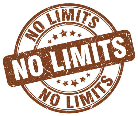 no limits: no limits brown grunge round vintage rubber stamp
