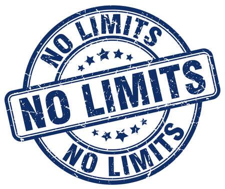 no limits: no limits blue grunge round vintage rubber stamp