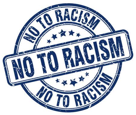 racismo: no al racismo grunge sello de goma azul de la vendimia redonda