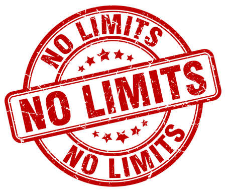 limits: no limits red grunge round vintage rubber stamp