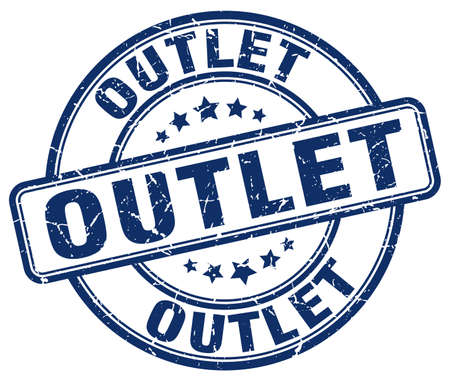 outlet: outlet blue grunge round vintage rubber stamp Illustration