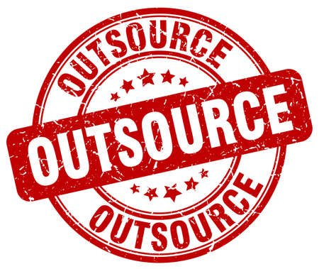 outsource: outsource red grunge round vintage rubber stamp