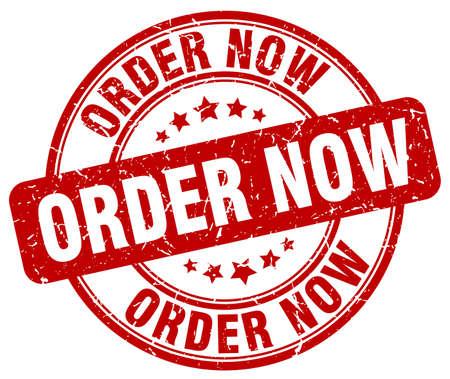 order now: order now red grunge round vintage rubber stamp