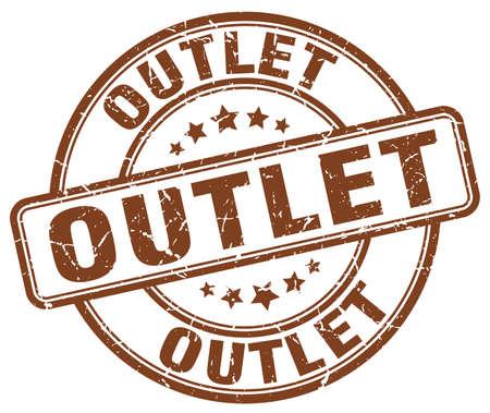 outlet: outlet brown grunge round vintage rubber stamp