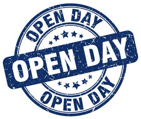 open day: open day blue grunge round vintage rubber stamp
