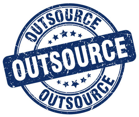 outsource: outsource blue grunge round vintage rubber stamp