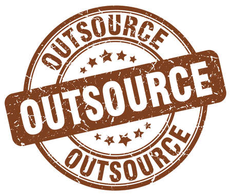 outsource: outsource brown grunge round vintage rubber stamp
