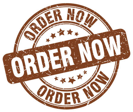 order now: order now brown grunge round vintage rubber stamp