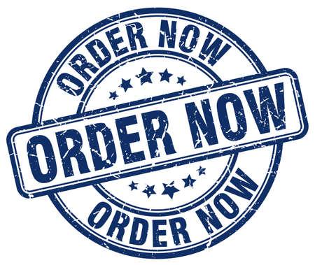 order now: order now blue grunge round vintage rubber stamp Illustration