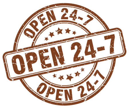 open 24 7 brown grunge round vintage rubber stamp