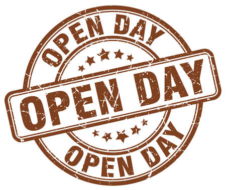 open day: open day brown grunge round vintage rubber stamp Illustration