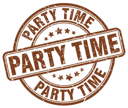 party time: party time brown grunge round vintage rubber stamp