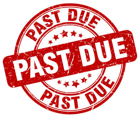 past due: past due red grunge round vintage rubber stamp