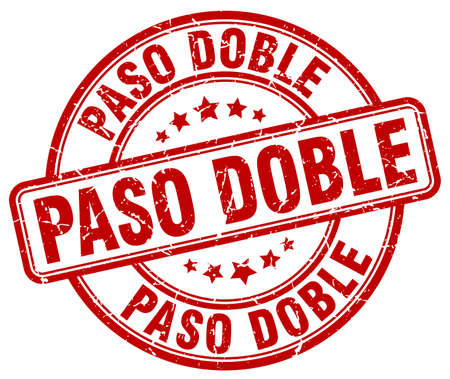 paso doble: paso doble red grunge round vintage rubber stamp