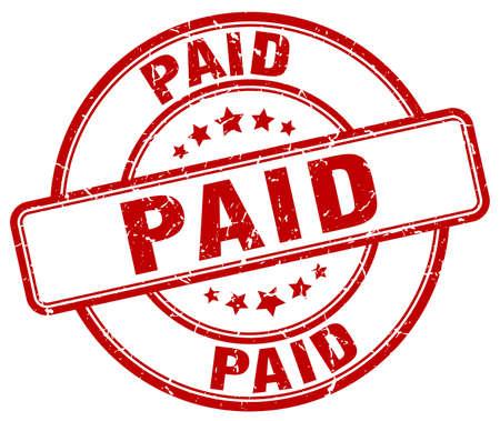 paid: paid red grunge round vintage rubber stamp
