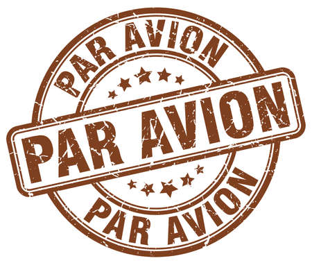 par avion: par avion brown grunge round vintage rubber stamp