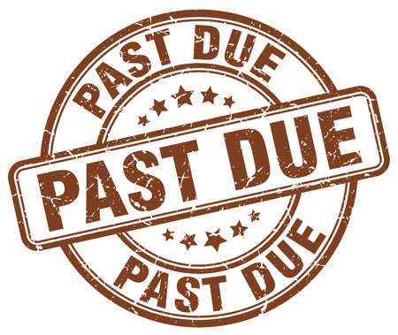 past due: past due brown grunge round vintage rubber stamp Illustration