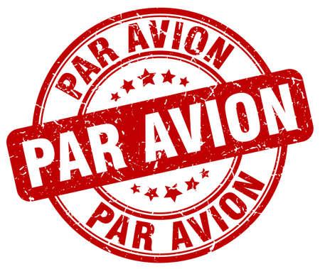 avion: par avion red grunge round vintage rubber stamp