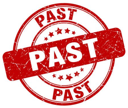 past: past red grunge round vintage rubber stamp