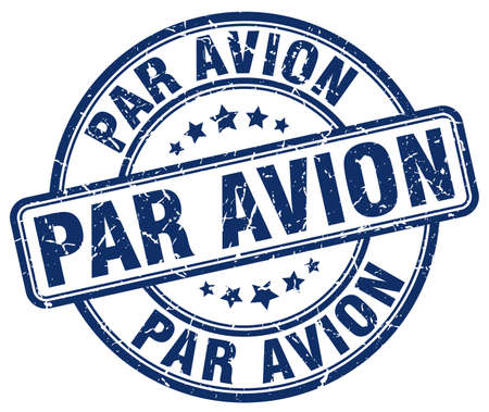 avion: par avion blue grunge round vintage rubber stamp Illustration
