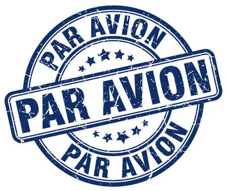avion: par avion blue grunge round vintage rubber stamp Illustration