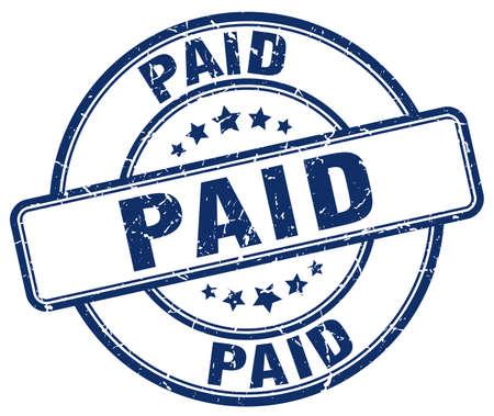 paid: paid blue grunge round vintage rubber stamp