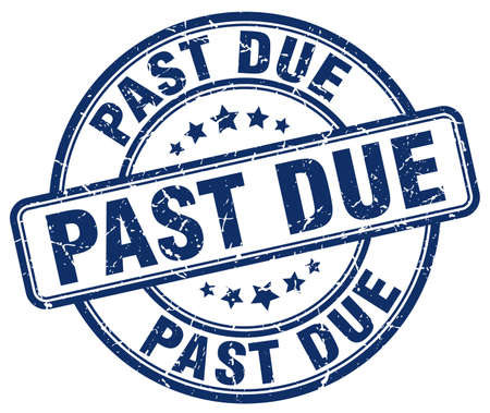 past due: past due blue grunge round vintage rubber stamp Illustration