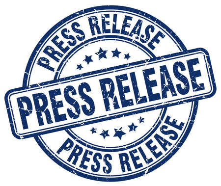 press release: press release blue grunge round vintage rubber stamp Illustration