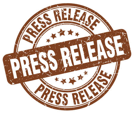 press release: press release brown grunge round vintage rubber stamp