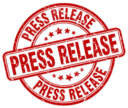 press release: press release red grunge round vintage rubber stamp