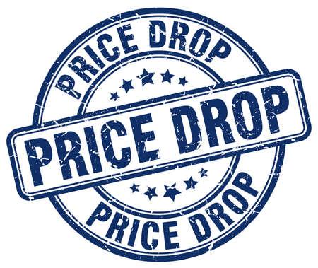 price drop: price drop blue grunge round vintage rubber stamp Illustration