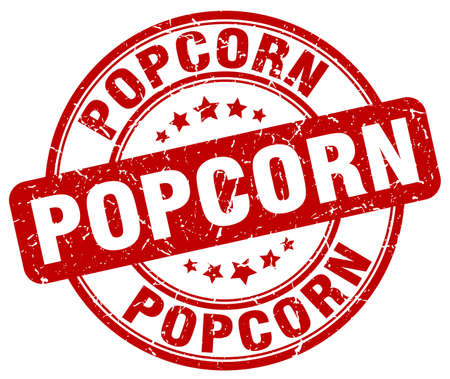 Weinlese-Stempel des popcorn roten Schmutzes runder Vektorgrafik