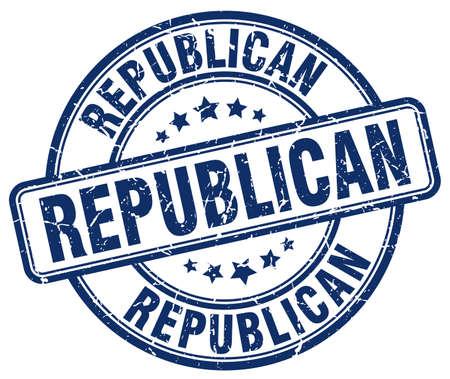 republican: republican blue grunge round vintage rubber stamp Illustration