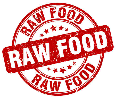 raw food: raw food red grunge round vintage rubber stamp Illustration