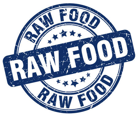 raw food: raw food blue grunge round vintage rubber stamp
