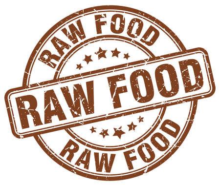 raw food brown grunge round vintage rubber stamp Illustration