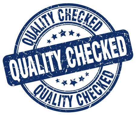 checked: quality checked blue grunge round vintage rubber stamp Illustration