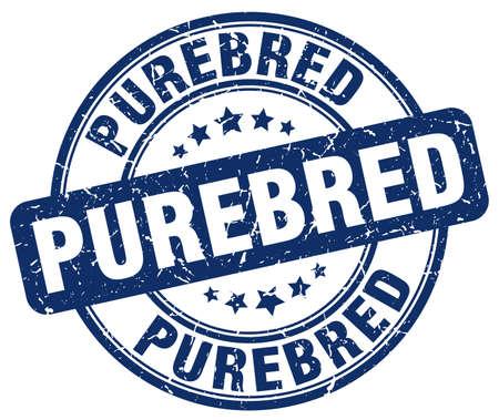 purebred: purebred blue grunge round vintage rubber stamp