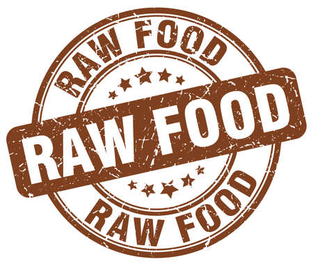 raw food: raw food brown grunge round vintage rubber stamp Illustration
