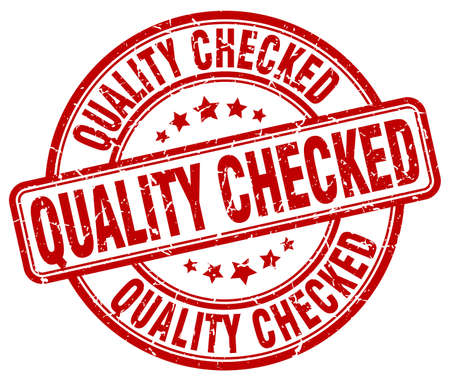 checked: quality checked red grunge round vintage rubber stamp Illustration