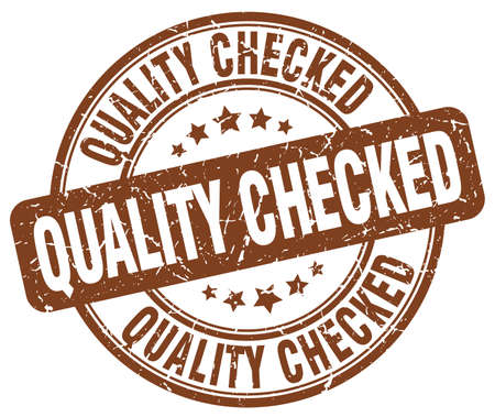 checked: quality checked brown grunge round vintage rubber stamp Illustration