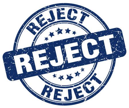 reject: reject blue grunge round vintage rubber stamp Illustration