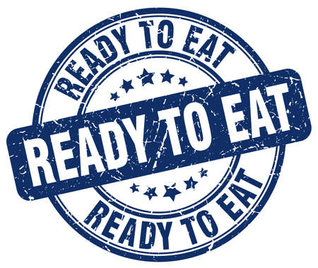 ready to eat blue grunge round vintage rubber stamp