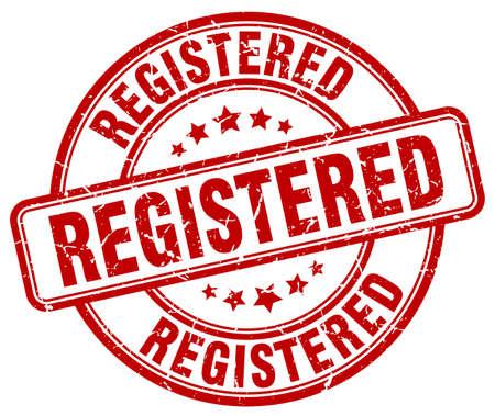 registered: registered red grunge round vintage rubber stamp