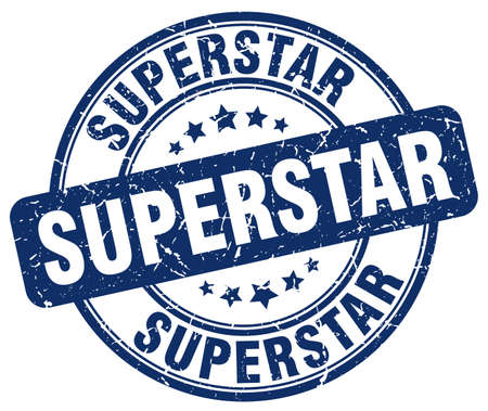 superstar: superstar blue grunge round vintage rubber stamp