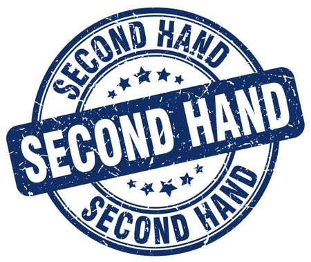 second hand: second hand blue grunge round vintage rubber stamp