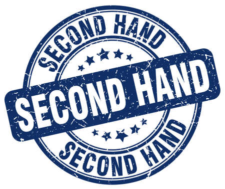 second: second hand blue grunge round vintage rubber stamp