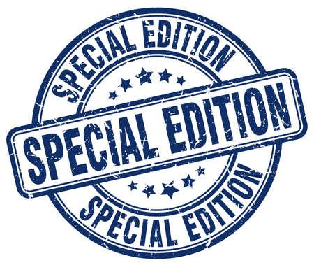 edition: special edition blue grunge round vintage rubber stamp Illustration