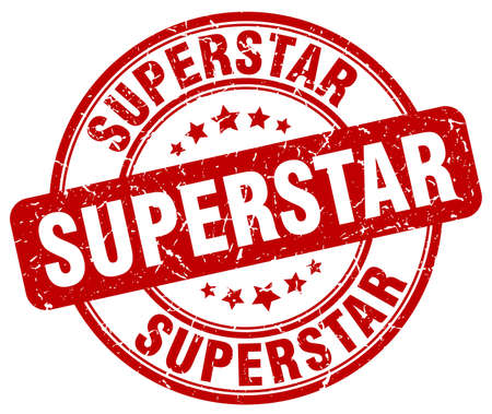 superstar: superstar red grunge round vintage rubber stamp